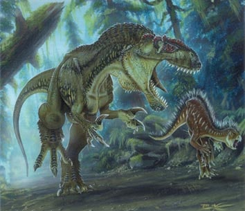 Megalosaurus chassant un végétivore.