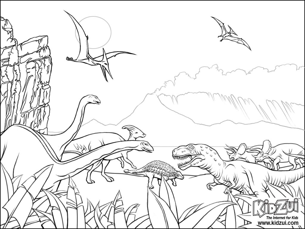 Coloriages de dinosaures et dessins d 39 animaux pr historiques - Dessin de dinosaure a imprimer ...