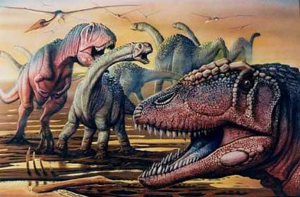 Le dinosaure Carcharodontosaurus attaquant pour se nourrir des végétivores.
