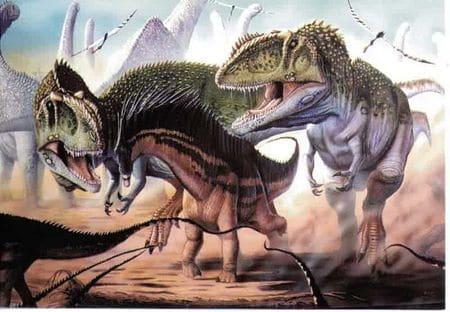 Dinosaures Giganotosaurus attaquant une proie.