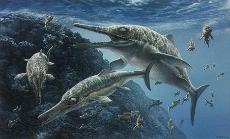 Groupe de reptiles marins Ichtyosaurus.