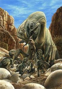 Oviraptor s'occupant de ses petits et oeufs au nid.