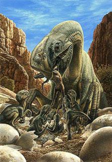 Oviraptor s'occupant de ses petits.