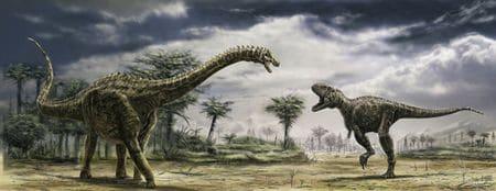 Le dinosaure Ampelosaurus et le dinosaure Tarascosaurus.