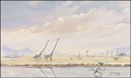 Iguanodon et brachiosaures au Crétacé inférieur.