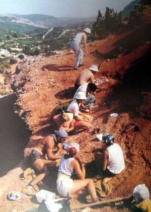 Fouilles paléontologiques à Fontjoncouse (Aude).