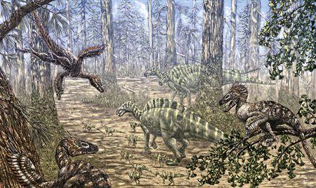 Le dinosaure Rhabdodon menacé par le dinosaure Variraptor.