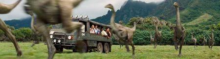 Troupeau de dinosaure Gallimimus dans le film Jurassic World.