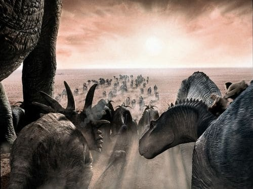 Troupeau de dinosaures en cours de migration.