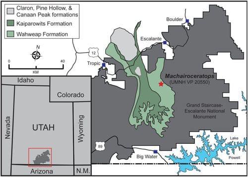 Formations géologique de l'Utah (USA), où a été trouvé Machairoceratops.