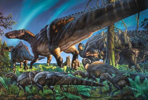 Un troupeau de dinosaures Ugrunaaluk kuukpikensis, avec des animaux adultes et des juvéniles.