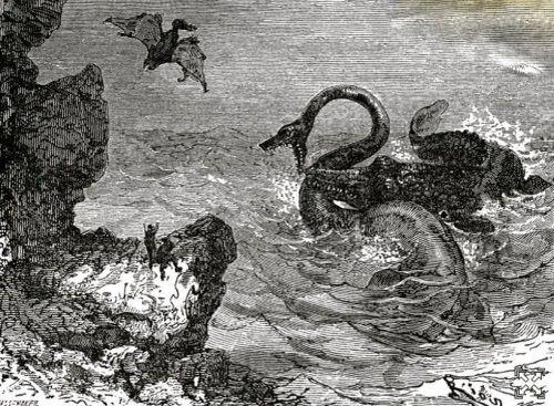 Les monstres marins du livre Voyage au centre de la Terre de Jules Verne.