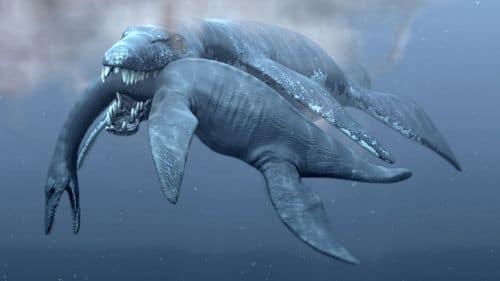 Pliosaurus funkei dévorant un Plésiosaure.